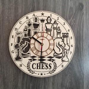 Дерев'яний годинник на стіну Шахи