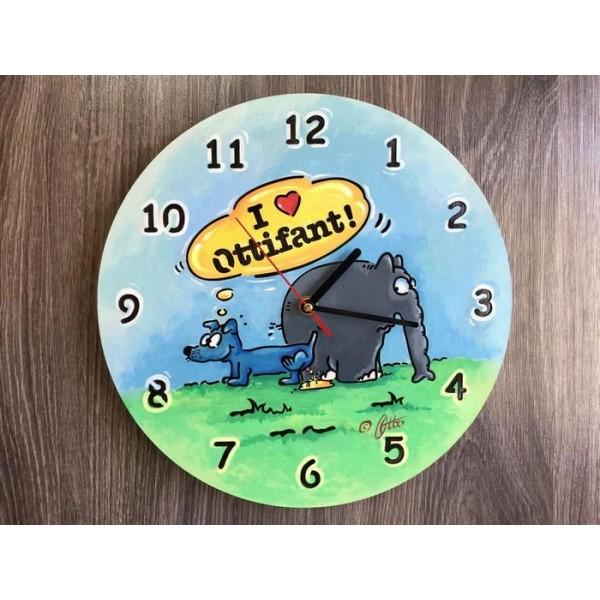 Настінний годинник з дерева Слоник Оттіфантен