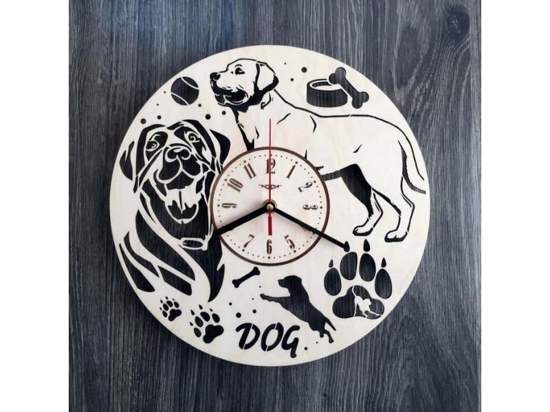 """Оригінальний годинник настінний з дерева """"Собака - друг людини"""""""