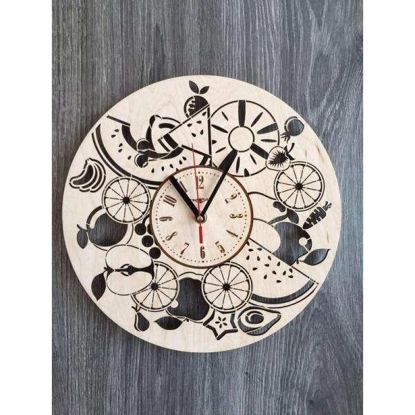 """Настінний годинник з дерева """"Соковиті фрукти"""""""