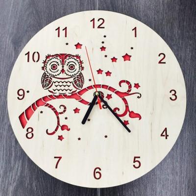 """Настінний годинник з дерева """"Сова"""""""