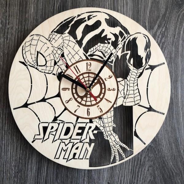 Круглий безшумний настінний годинник з дерева Spider-Man