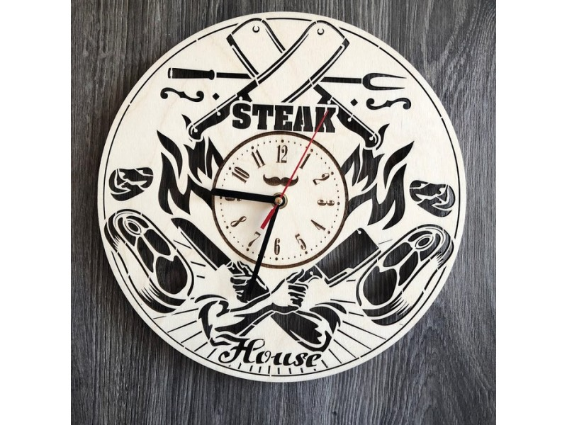 """Тематичний настінний годинник з дерева """"Steak House"""""""