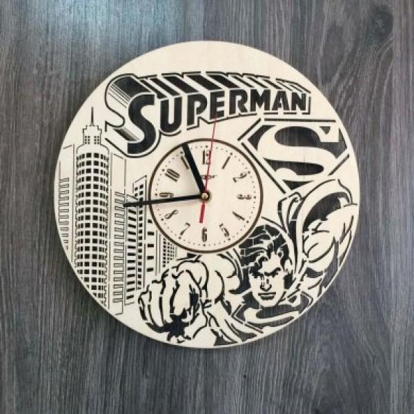 """Настінний годинник з дерева """"Супермен"""""""