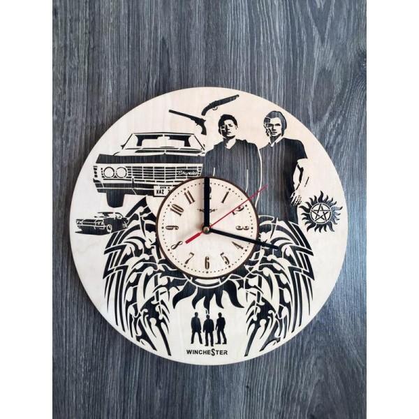 """Дизайнерський настінний годинник з дерева """"Надприродне"""""""
