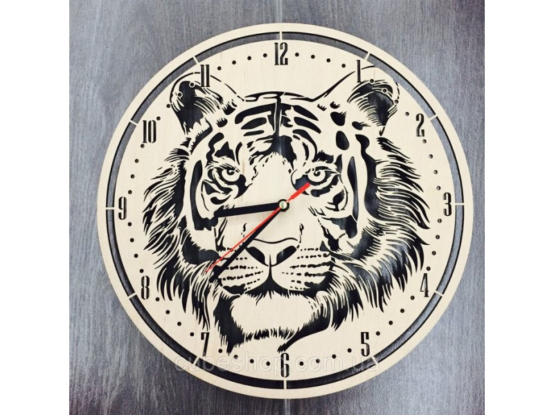 """Настінний годинник з дерева """"Тигр"""""""