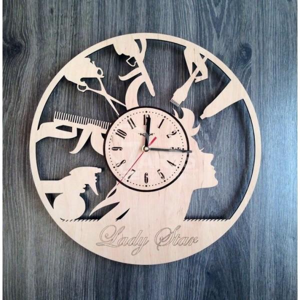Тематичний дерев'яний настінний годинник в перукарню