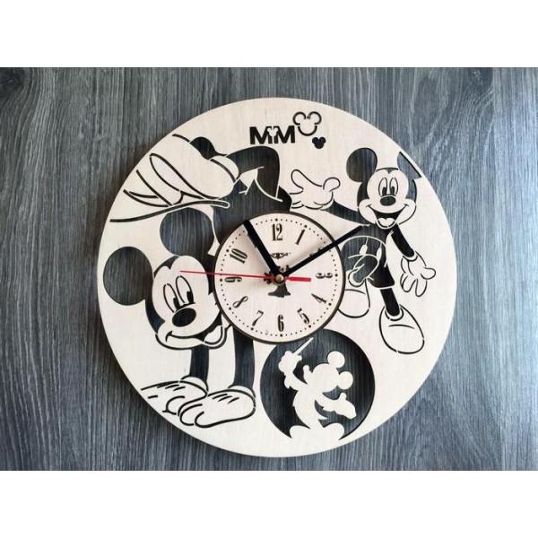 """Настінний годинник з дерева """"Веселий Міккі Маус"""""""