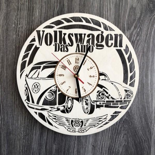 Стильний годинник з дерева настінний Volkswagen