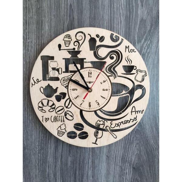 """Настінний годинник з дерева """"Час для кави"""""""