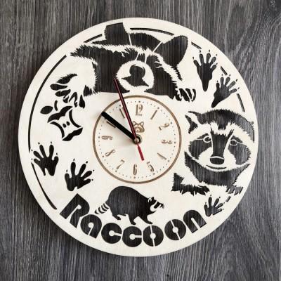 Годинник з натурального дерева настінний Кумедний єнот