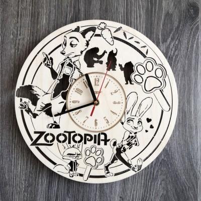 Годинник з натурального дерева настінний Звірополіс