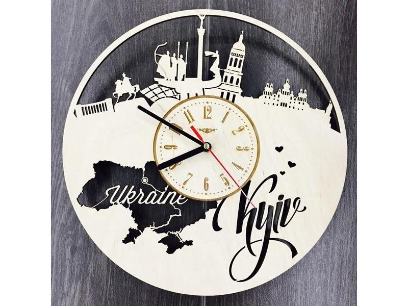 """Настінний годинник з дерева """"Київ"""""""