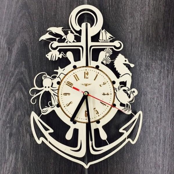 """Настінний годинник з дерева """"Якір"""""""
