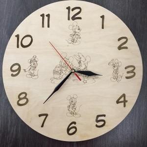 Дитячий дерев'яний годинник на стіну Улюблені герої мультфільмів
