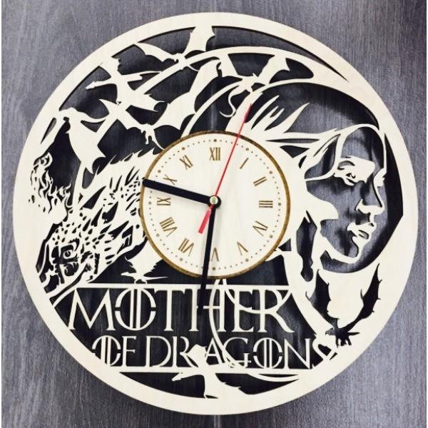 """Настінний годинник з дерева """"Mother of Dragons"""""""