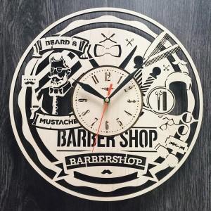 Дизайнерские настенные часы из дерева Мужская парикмахерская
