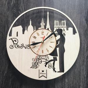 Інтер'єрний дерев'яний годинник на стіну Париж