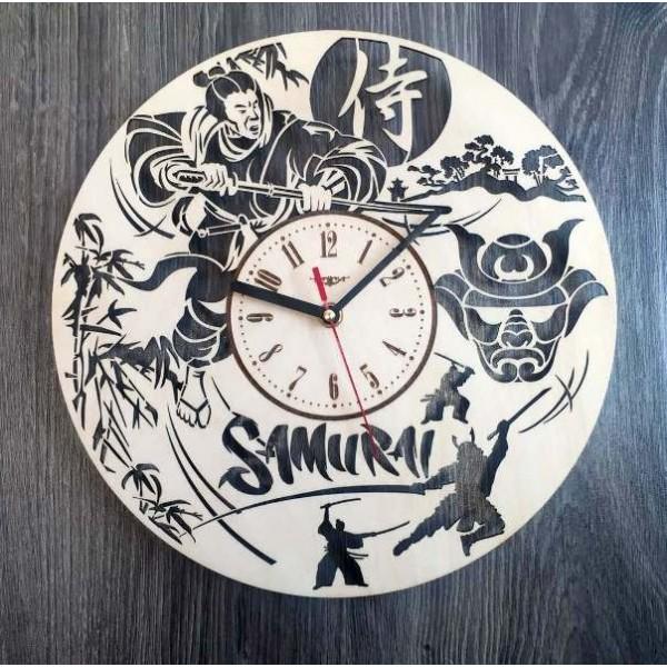 """Настінний годинник з дерева """"Самурай"""""""