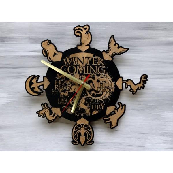 Дерев'яний настінний годинник Гра Престолів