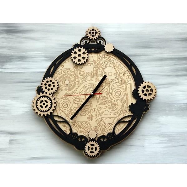Дерев'яний настінний годинник Steampunk