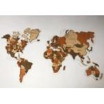 Багатошарова мапа світу з прозорою основою (акрил, орг. скло) (кольори дерева на вибір)