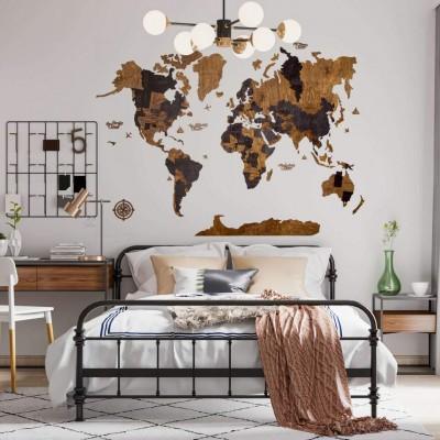 Многослойная карта мира с названиями стран и штатов (в коричневых цветах)
