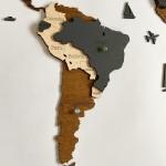 Багатошарова дерев'яна 3D карта світу (венге, темно-сірий, натуральний кольори)