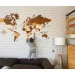 Трьохшарова дерев'яна карта світу (в коричневих кольорах)