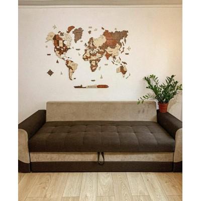 Багатошарова дерев'яна карта світу з штатами та столицями (кольори на замовлення)