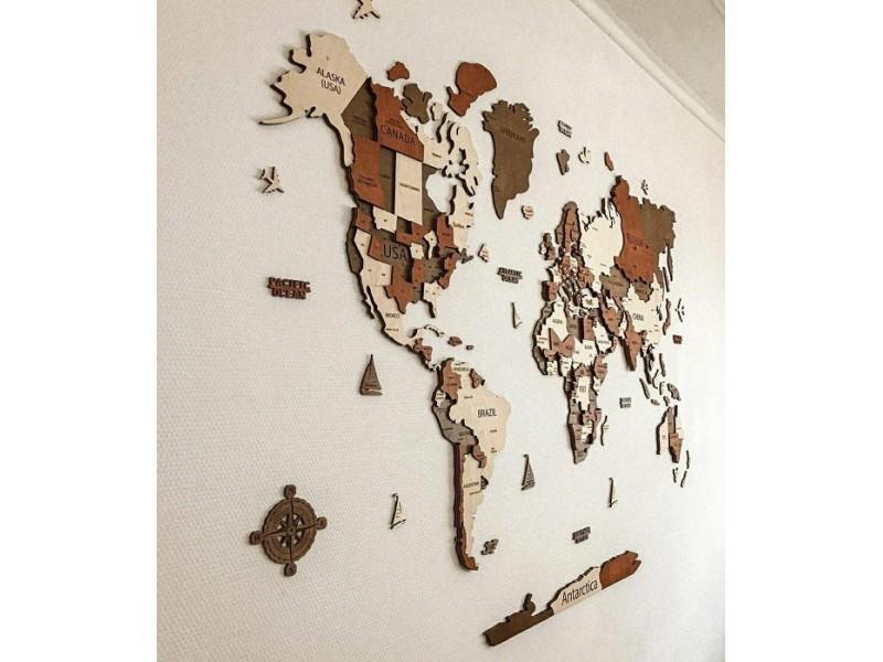 Багатошарова дерев'яна карта світу з країнами, штатами, столицями та містами (кольори на замовлення)