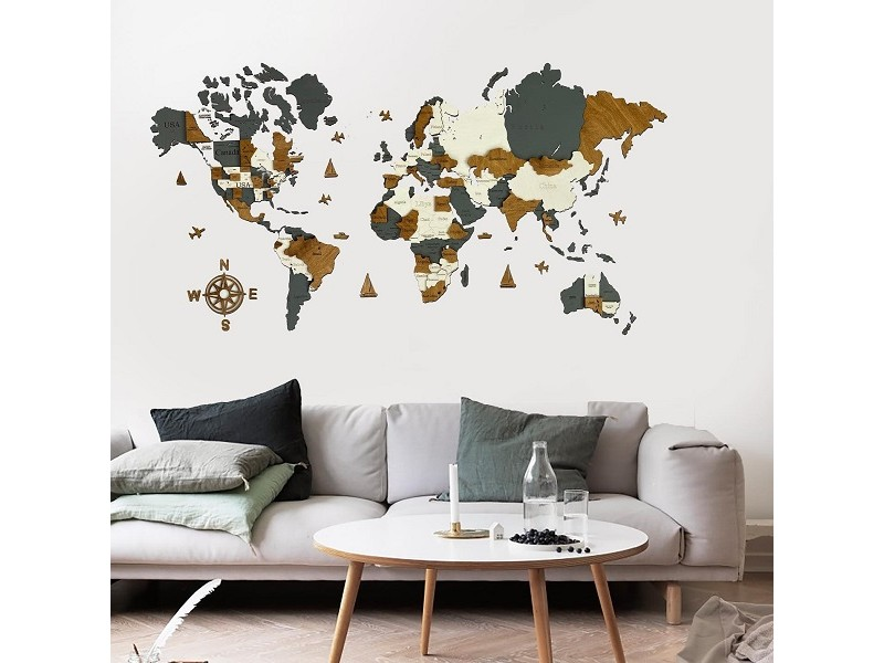Багатошарова дерев'яна карта світу з назвами країн та штатів (комбі кольори)