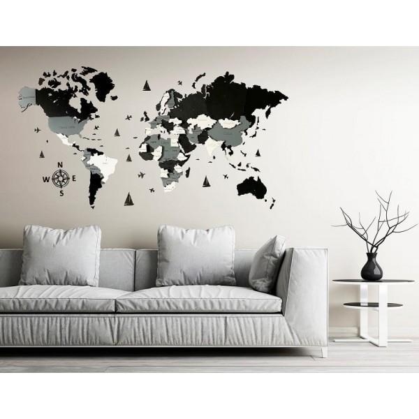 Дерев'яна 3-х шарова карта світу (темні та білий кольори)