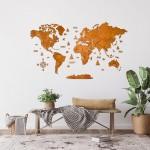 Багатошарова карта світу з дерева, 3 шари в одному кольорі