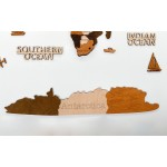"""Чотирьохшарова карта світу з дерева (в коричневих кольорах """"5 Кольорів"""")"""
