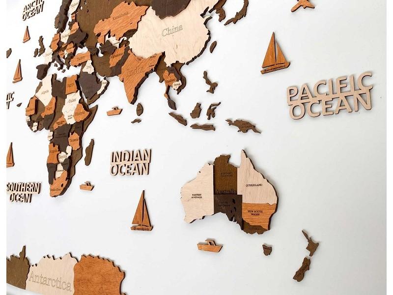 Багатошарова дерев'яна карта світу на стіну (в коричневих кольорах)