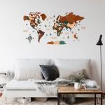 Дерев'яна трьохшарова (багатошарова) карта світу на стіну (більше 10 комбінацій кольорів на вибір)