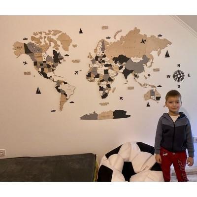 Четырехцветная многослойная деревянная настенная карта мира