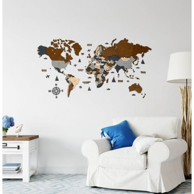 Многослойная 4D деревянная карта мира на стену (сочетание серых и коричневых цветов)