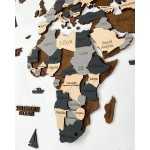 Багатошарова 4D дерев'яна карта світу на стіну (поєднання сірих та коричневих кольорів)