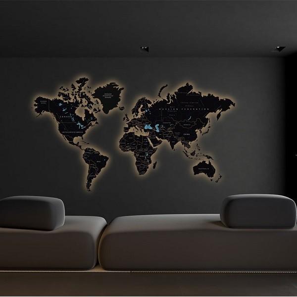 Мапа світу з гравіюванням на оргсклі (Glass) та LED підсвічуванням по контуру