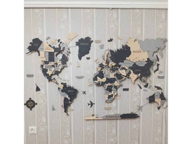 Дерев'яна карта світу з назвами країн, столиць та штатів США, Канади і Австралії (світло-сіра)