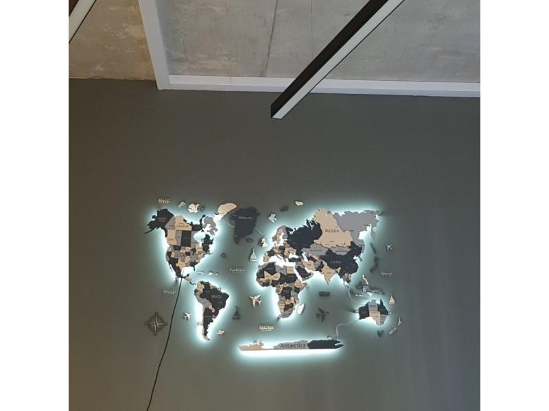 Дерев'яна багатошарова карта світу з LED підсвіткою (гравірування країн, штатів, столиць та міст)