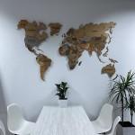 Дерев'яна багатошарова 3D карта світу з LED підсвіткою