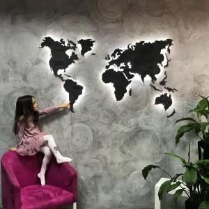 Деревянная однослойная карта мира с LED подсветкой