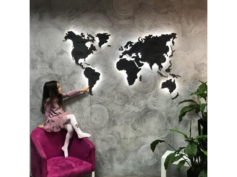 Дерев'яна одношарова карта світу з LED підсвіткою (гравіровка країн та кордонів)