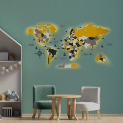 Многослойная 3D карта мира с LED подсветкой для детской комнаты или стильного офиса