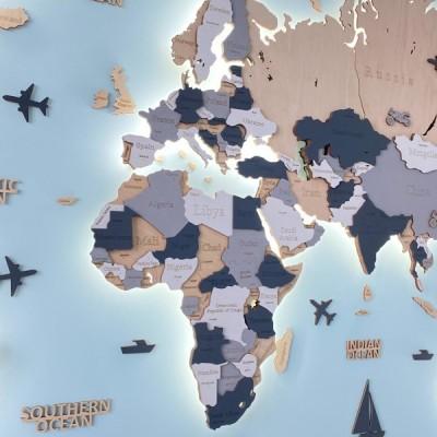 Дерев'яна багатошарова 3D мапа світу з підсвічуванням в бежевих та сірих кольорах
