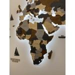 Багатошарова дерев'яна карта світу з ЛЕД підсвічуванням (сірі та коричневі кольори)