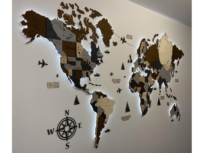Багатошарова дерев'яна карта світу з ЛЕД підсвічуванням (різні кольори)